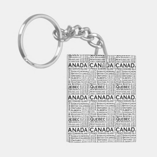 Canadian States & Cities Square Acrylic Key Chain