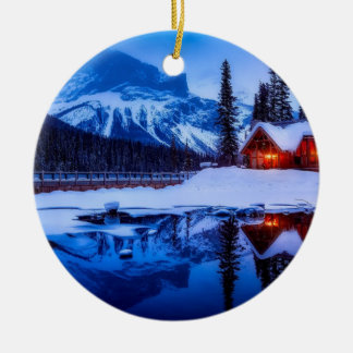 Canadian Sunset, landscape photo at dusk, Christmas Ornament