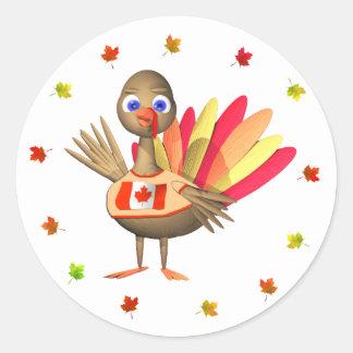 Canadian Thanksgiving Baby Turkey Classic Round Sticker