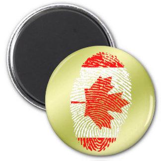 Canadian touch fingerprint flag 6 cm round magnet