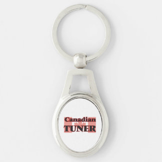 Canadian Tuner Silver-Colored Oval Key Ring