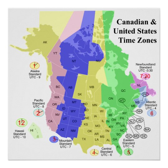 Canadian & United States Political Time Zone Map Poster | Zazzle.co.uk