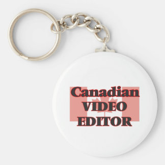 Canadian Video Editor Basic Round Button Key Ring