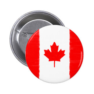 Canadian wax pencil sketched flag 6 cm round badge