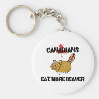 Canadians Eat More Beaver Basic Round Button Key Ring