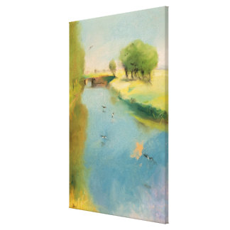 Canal, 1897 (pastel on canvas) stretched canvas print
