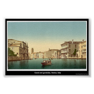 Canal and gondolas, Venice, Italy Poster