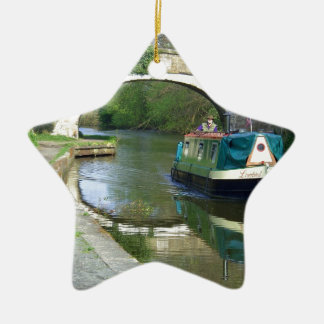 Canal Boat Cruising Along Ceramic Star Decoration
