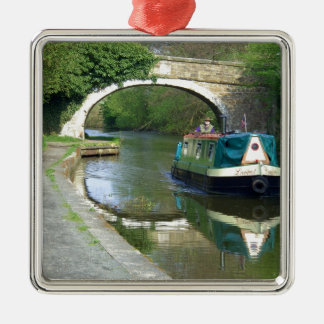 Canal Boat Cruising Along Christmas Ornament
