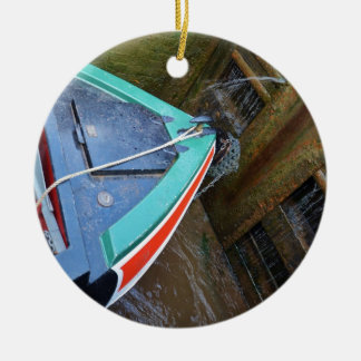 Canal Boat In Lock Christmas Ornament