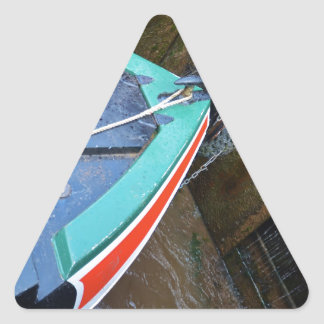 Canal Boat In Lock Triangle Sticker