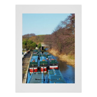 Canal boats moored for winter poster