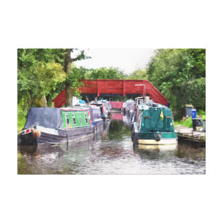 CANAL BOATS STRETCHED CANVAS PRINT