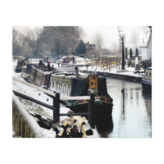 CANAL BOATS UK STRETCHED CANVAS PRINT