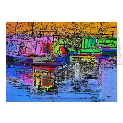 CANAL BOATS UK GREETING CARDS
