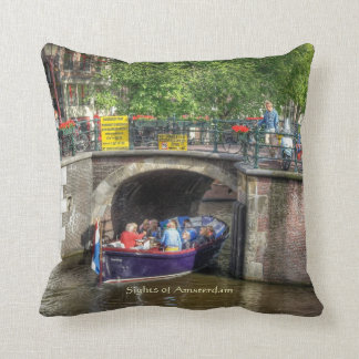 Canal Bridge Scene, Sights of Amsterdam Cushion