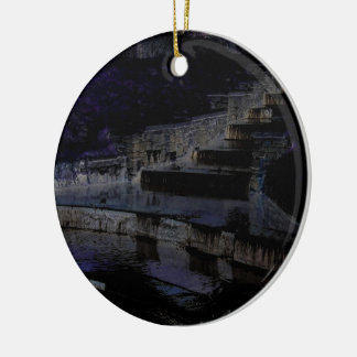 Canal by night christmas ornament