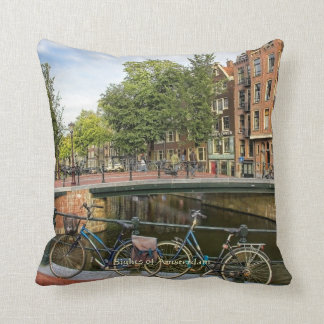 Canal Crossing and Bikes, Sights of Amsterdam Cushion