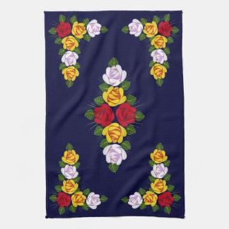 Canal folk art tea towel
