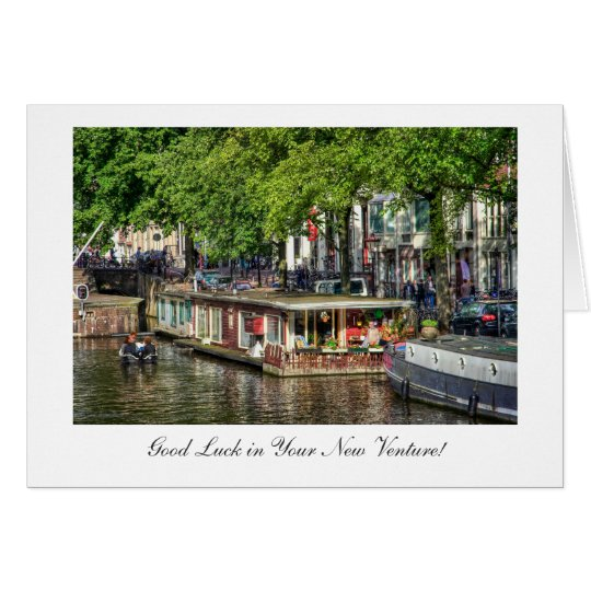 Canal Houseboat, Good Luck in New Venture Card