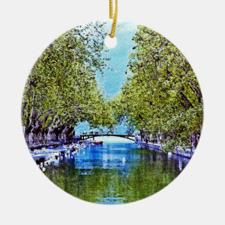 Canal in Annecy France Christmas Ornament