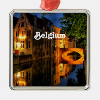 Canal in Belgium Silver-Colored Square Decoration