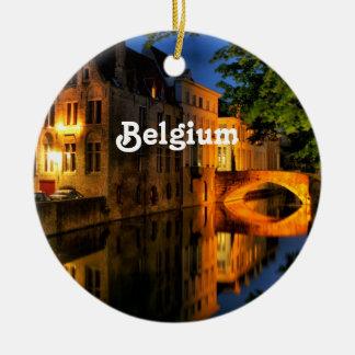 Canal in Belgium Round Ceramic Decoration