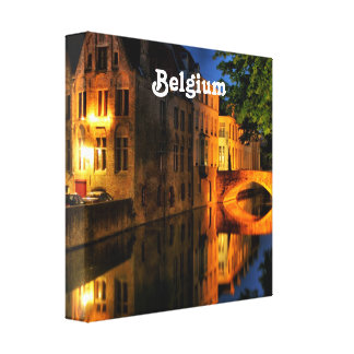 Canal in Belgium Stretched Canvas Print