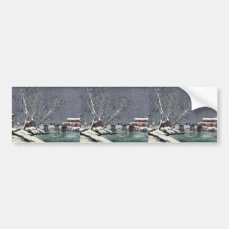 Canal in snow Ukiyoe Bumper Stickers