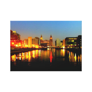 Canal & Liver Building, Liverpool UK Canvas Print
