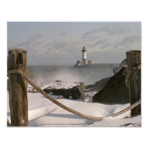 Canal Park Lighthouse in Winter Photo Print