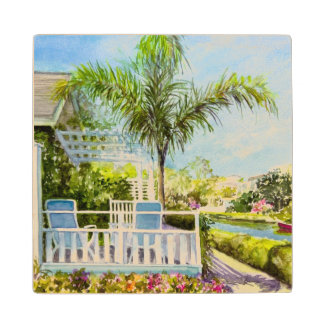 Canal Patio Wood Coaster