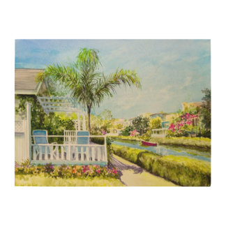 Canal Patio Wood Print
