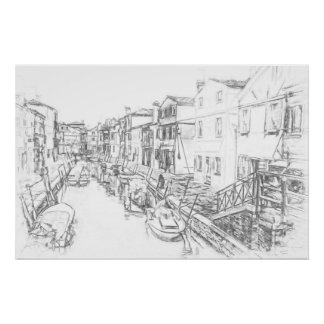 Canal - Pencil Sketch Poster