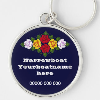 Canal roses personalised keyring Silver-Colored round key ring