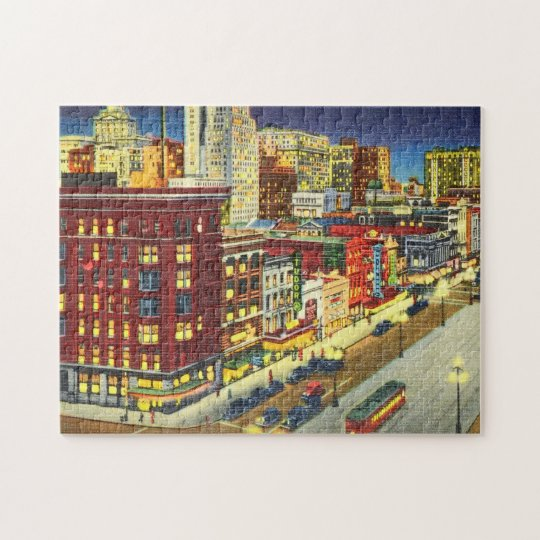 Canal Street at Night, New Orleans, Louisiana Jigsaw