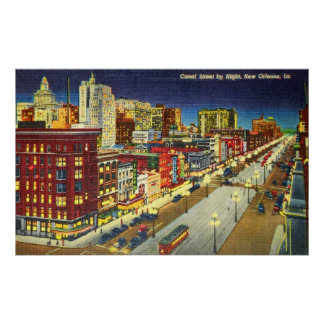 Canal Street at Night, New Orleans, Louisiana Poster