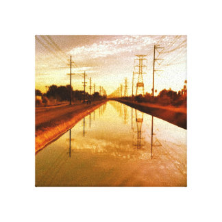Canal Vanishing Point Stretched Canvas Print