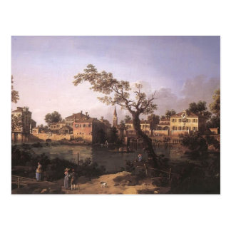 Canaletto- View of a River, Perhaps in Padua Postcards