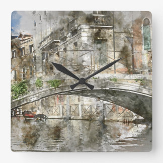 Canals of Venice Italy Watercolor Clock