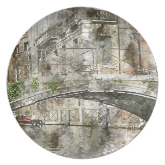 Canals of Venice Italy Watercolor Plate