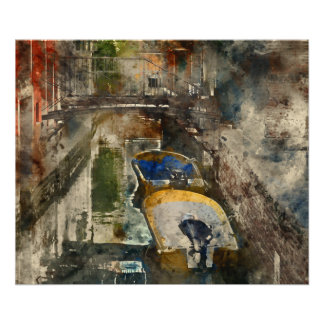 Canals of Venice Italy Watercolor Poster