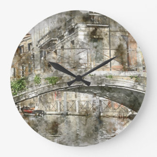 Canals of Venice Italy Watercolor Wallclock