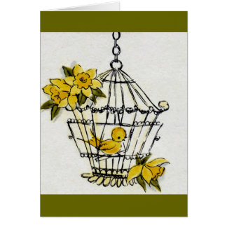 Canary and Dafodills Card