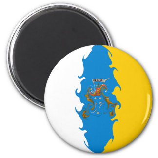 Canary Islands Gnarly Flag 6 Cm Round Magnet