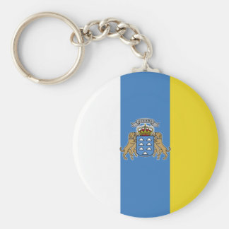 Canary Islands High quality Flag Basic Round Button Key Ring