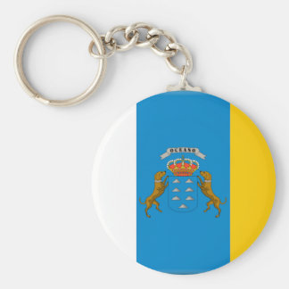 Canary Islands (Spain) Flag Basic Round Button Key Ring