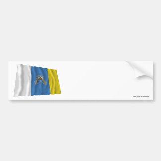 Canary Islands Waving Flag Bumper Sticker