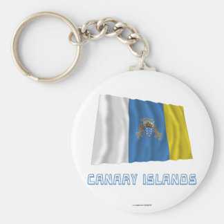 Canary Islands Waving Flag with Name Basic Round Button Key Ring