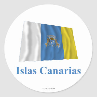 Canary Islands Waving Flag with Name in Spanish Classic Round Sticker